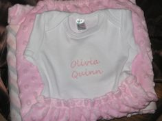 Natalie Minky Baby Gown and Minky Blanket by KandRsCreations, $50.00