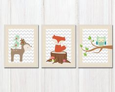 Baby woodland wall art prints Woodland Nursery art Woodland forest animal Deer Fox Owl - set of 3 prints - H326 This listing is for 3 art prints only - frame not included. These prints are professionally printed on high quality heavyweight matte paper with archival inks. Please be aware