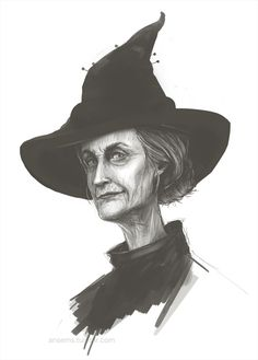 "ansems: ""Good ol' cranky Granny Weatherwax. Another rough sketch - though it took me a while longer than Sam Vimes to find her. I wanted her to look quite aloof, but at the same time like she could be..."