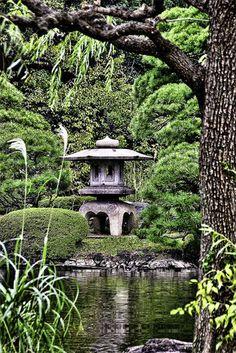 Bassin dans un jardin japonais, GIF animé.