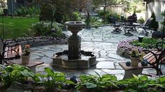 Replace High-Maintenance Pond With Fountain And Flagstone Patio