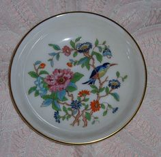 Vtg Aynsley Fine English Bone China Floral Bird Pembroke Jewelry Plate Nut Dish #Aynsley