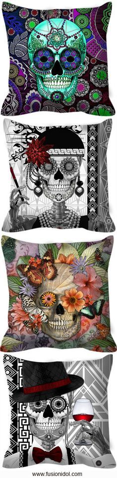 Unique artisan throw pillows featuring the artwork of Christopher Beikmann. Find Buddha, floral, paisley and sugar skull art pillows. Sugar Skull Decor, Sugar Skull Art, Sugar Skulls, Skull Pillow, Hallowen Ideas, Candy Skulls, Gothic House, Skull And Bones, Fall Halloween