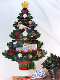 NEW Bucilla Christmas Tree Card Holder Felt Applique Kit Holiday Wall Hanging #Bucilla