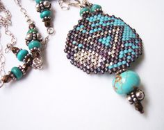 Turquoise and Silver LGBT Pride Necklace with Dark by Beadmatrix, $148.00