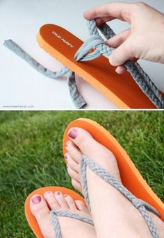 Hey, this is how I can make those dumb flip flops fit—rip out the too-small strap that's already there and crochet my own. :)