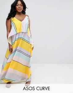 b1c301f729aea ASOS Curve ASOS CURVE Stripe Crop Top Maxi Dress - ON SALE! Plus-size