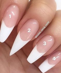 French stiletto nails, acrylic white tips, acrylic nails coffin pink, clear a Acrylic Nail Types, White Tip Acrylic Nails, Acrylic Nail Designs, White Nails, Nails With White Tips, Shapes Of Acrylic Nails, White Tip Nail Designs, French Manicure Acrylic Nails, French Manicures