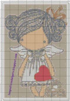 Bonito gráfico de una muñequita con un corazón...