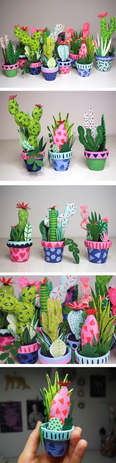 des cactus dans des pots à fleurs décorés de papier, composition florale diy, comment faire du papier maché