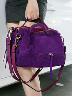 Copious: Violet Genuine Cow Suede Leather Handbag