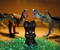 A group of Carnegie dinosaurs eager to have some Easter chocolate. Photo by Justin Petersen