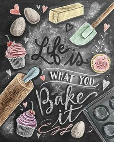 Kitchen Decor - Kitchen Chalkboard Art - Gift for the Baker - Baking Art - Kitchen Art - Illustration Print - For the Bakery - Bakery Art - Cute chalkboard art print for a Shabby Chic kitchen! Lily And Val, Baking Quotes, Baking Puns, Chalk It Up, Kitchen Prints, Kitchen Artwork, Chalkboard Signs, Chalkboard Art Kitchen, Chalkboard Print
