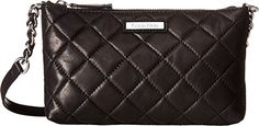Calvin Klein Womens Chelsea Quilted Leather Crossbody BlackSilver Cross Body ** You can get more details by clicking on the image.