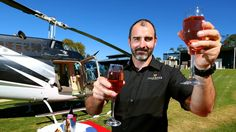 Helicopter pilot, jeweller and owner of Gold River Jewellery and Unique Proposals, Bruce Hume, with helicopter at Ocean View Estates Winery, Ocean View - Picture: Richard Walker