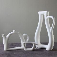 Elegante Eenvoudige Creatieve Abstracte Keramische Witte Vaas Theepot Cup Vormige Decoratieve Porselein Kunst en Ambachtelijke Ornament Accessoires in  van vazen op AliExpress.com | Alibaba Groep