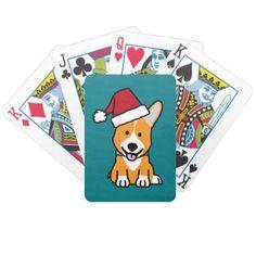 #Corgi dog puppy Pembroke Welsh Christmas Santa hat Bicycle Playing Cards - #pembroke #welsh #corgi #puppy #dog #dogs #pet #pets #cute #pembrokewelshcorgi