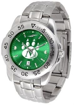 """Northwest Missouri State Bearcats NCAA AnoChrome """"Sport"""" Mens Watch (Metal Band) by SunTime. $64.95. Rotation Bezel/Timer. Calendar Date Function. Scratch Resistant Face. This handsome, eye-catching watch comes with a stainless steel link bracelet. A date calendar function plus a rotating bezel/timer circles the scratch resistant crystal. Sport the bold, colorful, high quality logo with pride. The AnoChrome dial option increases the visual impact of any watch with a stunnin..."""