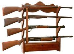 American Classics Wall Mount Gun Rack 4 Gun Shelf Rifle Storage