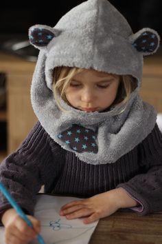 Cagoule à oreilles enfant en polaire grise doublure personnalisable