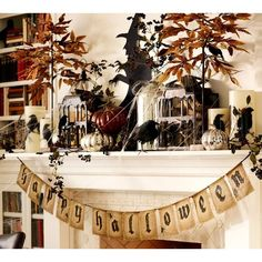 Pottery Barn Happy Halloween Jute Banner (83 PLN) ❤ liked on Polyvore featuring home, home decor, holiday decorations, natural, pottery barn, halloween banner, halloween home decor and distressed home decor