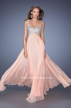 Beautiful Prom pastel pink Prom dress, with silver detailing.  Can be found at www. LaFemmeFashion.com