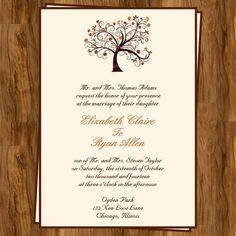 Fall Tree Wedding Invitations | Autumn Wedding Invitation with Fall Tree, Not a Deposit Listing, Set ...