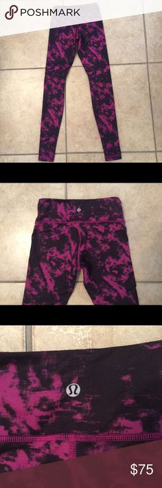 "LULULEMON women's WUNDER UNDER pants RARE pink 4 Lululemon women's Wunder Under pink/black RARE pants . Size 4 . In Great condition ! Inseam: 33"". If you have any questions feel free to ask! lululemon athletica Pants Track Pants & Joggers"