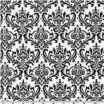 "Damask Wedding Madison Table Squares Black White 18"""