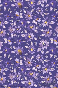 tossed flowers material sold by the yd crafty small daisy flower brown purple quilt coordinate combination blue purple  flowers