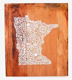 Reclaimed Wood Minnesota Wall Art by Jeanne McGee on Scoutmob