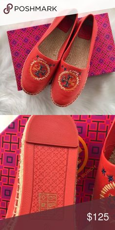 "Tory Burch Daley Espadrille Samba new in box Tory Burch Samba Daley Leather Espadrille Flats  Size 6.5 .5"" Approx. heel height Jute lined sole Double T logo on the upper with white, blue, and orange stitching Box is included Tory Burch Shoes Flats & Loafers"