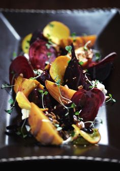 tyler florence's roasted beet salad with arugula & blue cheese.  yum!