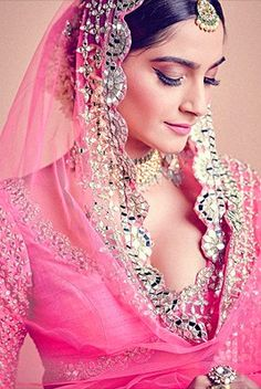 Sonam Kapoor looks stunning as a bride in Abhinav Mishra Show . She looks gorgeous and beautiful in this baby pink lehenga . Bollywood Actress Hot, Bollywood Saree, Bollywood Celebrities, Bollywood Fashion, Hollywood Actress Pics, Bride Reception Dresses, Pink Lehenga, Beautiful Blonde Girl, Hair Extensions Best