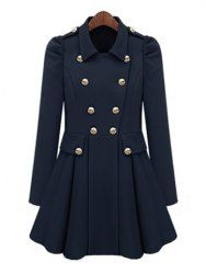 Ladylike Turn-Down Collar Solid Color Epaulet Puff Sleeves Ruffled Double-Breasted Women's Trench Coat