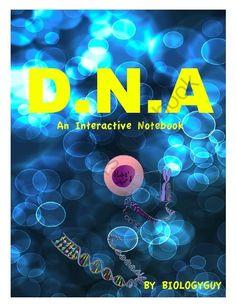 DNA, An interactive Notebook from THE SCIENCE CORNER on TeachersNotebook.com - (57 pages) - DNA INTERACTIVE NOTEBOOK, 57 pages, DNA, DNA REPLICATION, Deoxyribonucleic acid, genes, chromosomes, genetics, genetic variation, RNA, transcription, translation, DNA worksheets, DNA activities, DNA i