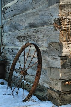 wagon wheel in the snow