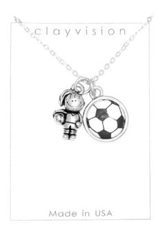 Clayvision Soccer Girl Charm with Color Soccer Ball Charm Necklace