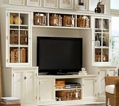 Logan Media Suite with Drawers and Glass Towers & Bridge, Antique White #potterybarn