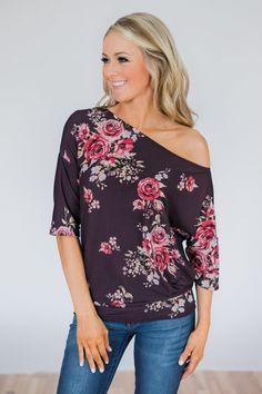 eb109cd70f5 Promise Me One Shoulder Floral Top- Deep Plum