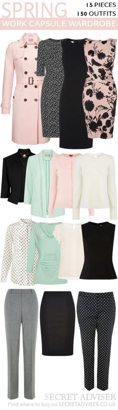 Spring Work Capsule Wardrobe (I'd replace the pinks with a darker blue in this collection and would want more V-neck tops/dresses.)