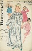 An undated Butterick Pattern 2158.  Girls' Sleepwear Wardrobe - (A) Long Granny gown with buttoned round yoke, Peter Pan collar, elasticized long set-in sleeves, self ruffle.  (B) Below-knee length gown with lace trim. ( C) Scoop necked shortie pajamas with puffed sleeves; bloomers with elasticized legs.  (D) Pajamas with flop pocket top (short version of Granny gown) with lace trim, long pants with back elasticized waistline.