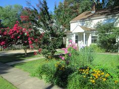 The front yard with everything in full bloom in spring.
