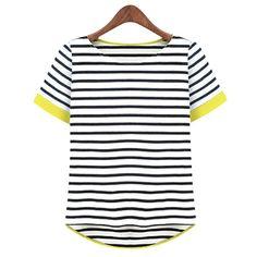 Novas mulheres Tops O pescoço T camisa t shirts de manga curta listrada Tees Blusas Femininas frete grátis ml XL XXL XXXL Plus Size em Camisetas de Roupas e Acessórios no AliExpress.com   Alibaba Group