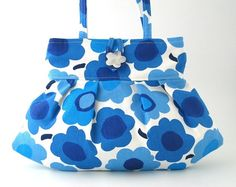 floral bag- sexy purse- small cotton tote bag- art bag - blue handbag- shoulder bag- small Marimekko style bag on Etsy, 48,06 €