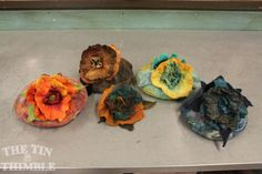 Wet felted flowers and vessels by Tin Thimble students. Class Photos & Student Projects - The Tin Thimble. #wetfelt #felt #thetinthimble #fiber