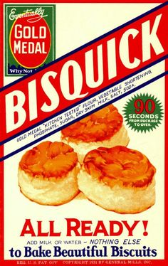 Beautiful Bisquick Biscuits In 1930, a hungry General Mills sales executive was traveling by train when the dining car's chef whipped him up a batch of hot biscuits in mere moments. His secret? Pre-mixing the ingredients and storing the mixture in the ice chest. Unheard of! The executive saw the potential and the Sperry division of General Mills worked in secret to make Bisquick the very first pre-made biscuit mix.