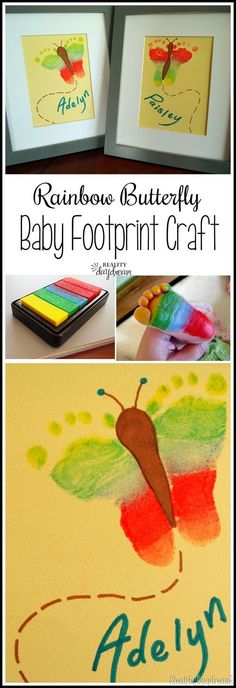 Butterfly footprint craft... using a rainbow ink pad! {Reality Daydream}