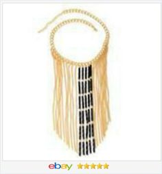 50% OFF #ebay http://stores.ebay.com/JEWELRY-AND-GIFTS-BY-ALICE-AND-ANN Black and Gold color dangle Fringe Necklace USA Seller