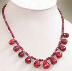 Single Row Ruby Gemstone Necklace With Ruby Drops -Free Matching Dangler Earrings,Anniversary Gift, Wedding Gift ******************************************************************** *Stone : Ruby *Origin- African Rubies *Treatment - Enhanced *Cut-Round *Dimensions - 4mm-5mm This is a